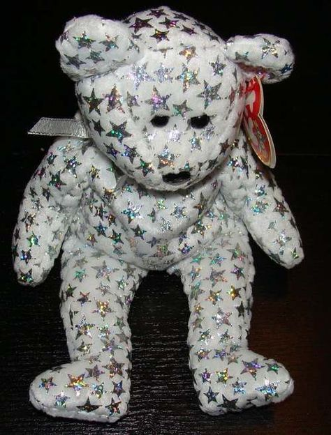 Ty Beanie Babies Bear 2000 The Beginning Stars White Metallic Silver Plush   Ty f7db539a6ef
