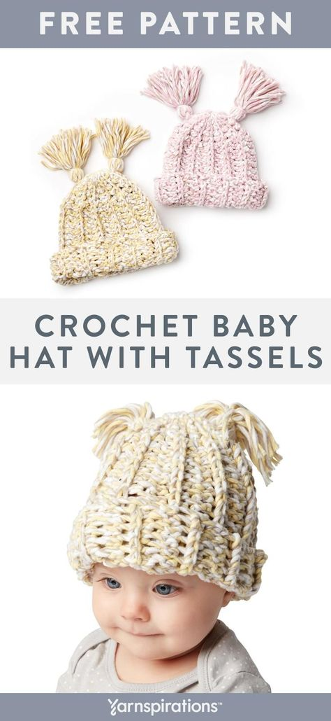 f1151889095 This free crochet baby hat pattern looks super cute with a pair of tassels.  Make