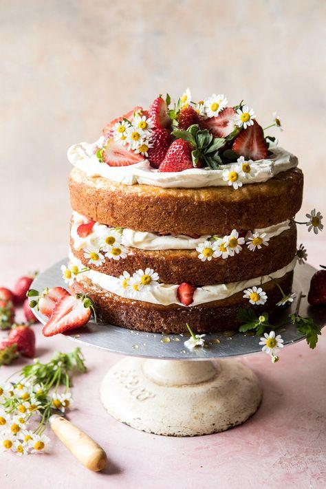 Strawberry Chamomile Naked Cake   halfbakedharvest.com #cake #spring #strawberry #recipes #easter