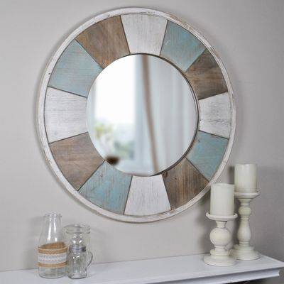 Cottage Timbers Teal Round Mirror In 2019 New 18