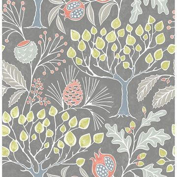Groovy Garden Grey Peel Stick Wallpaper Nuwallpaper Botanical Wallpaper Wallpaper Roll