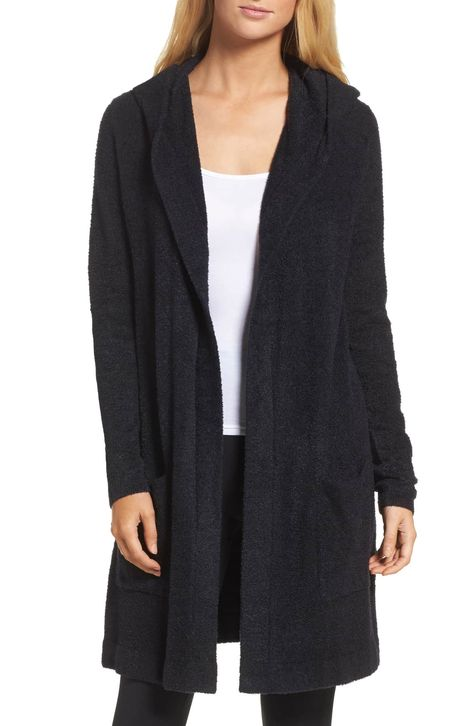 Cozychic Lite® Coastal Hooded Cardigan, Main, color, BLACK