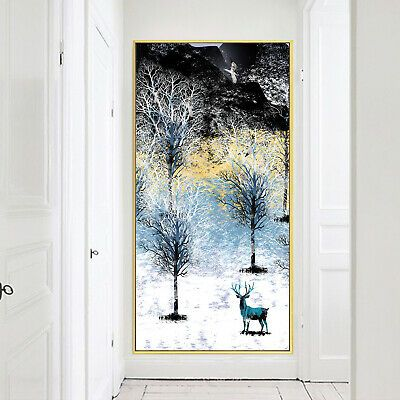 Elk Art Oil Paint Silk Canvas Poster Nordic Modern Wall Decor A750 Unframed