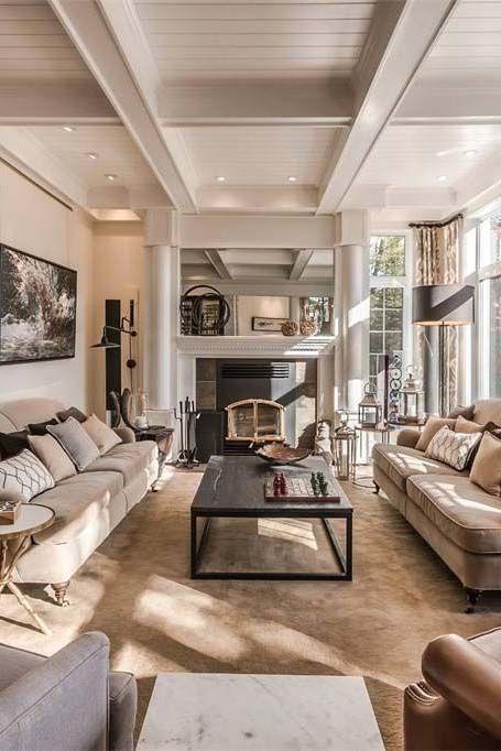 Beautiful Living Room Design Open Floor Plan Coffered Ceiling