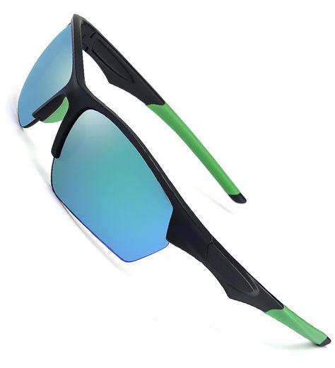 5d83de0abc Sports Sunglasses for Men Women- Wrap Semi Rimless Frame Flash ...