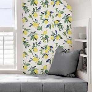 30 75 Sq Ft Lemon Drop Yellow Peel And Stick Wallpaper Peel And Stick Wallpaper Nuwallpaper Self Adhesive Wallpaper