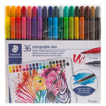 Marsgraphic Duo Watercolor Brush Markers 36 Piece Set Hobby