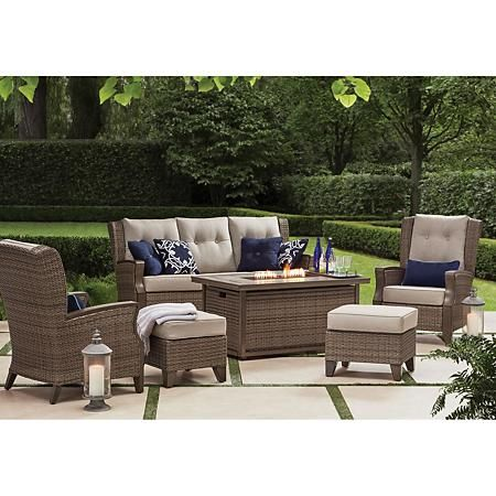 Member S Mark Agio Newcastle 6 Piece Patio Deep Seating Set With Fire Pit And Sunbrella Fabric C In 2020 Deep Seating Deep Seating Patio Furniture Outdoor Seating Set