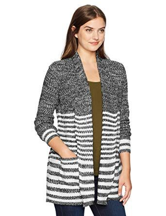 Jason Maxwell Womens Striped Marled Cardigan Sweater Cardigan Sweater