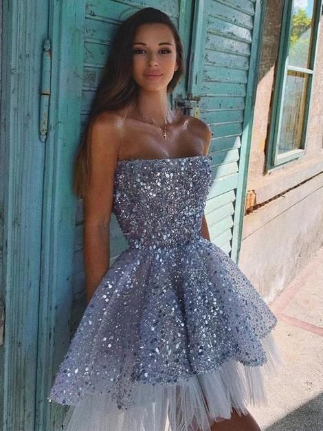 Sparkly Sequins Tulle Applique Strapless Backless Homecoming Dress · Grace Girls Dress · Online Store Powered by Storenvy