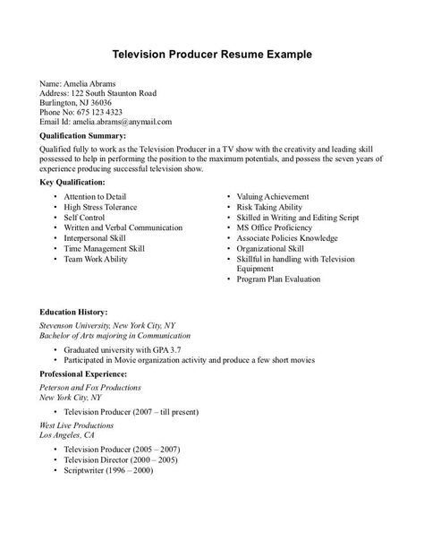 Television Producer Resume Sample -    resumesdesign - film production assistant resume