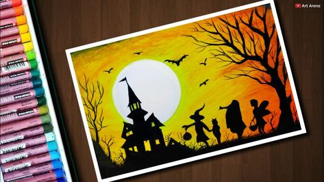 Halloween Drawing With Oil Pastels Step By Step Oil Pastel Art