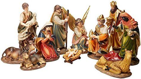 Burton /& Burton 11 Piece Resin Glitter Nativity Set