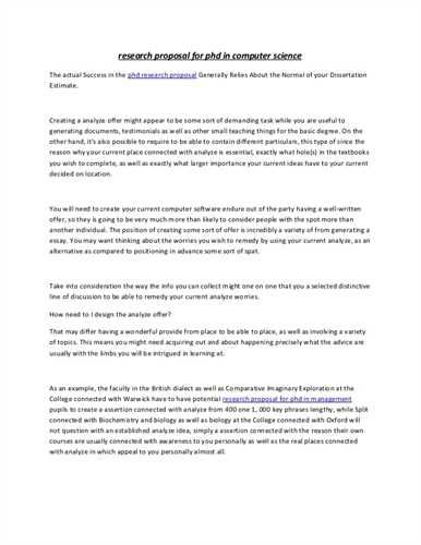 Research Proposal Computer Science Essay Research Proposal Computer Science