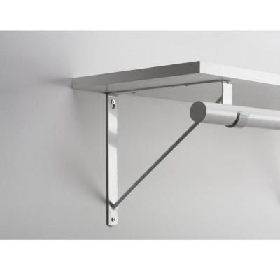 Everbilt White Heavy-Duty Shelf Bracket and Rod Support-14317 - The Home Depot