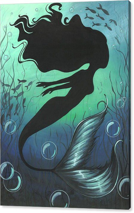 Mermaid Canvas Print featuring the painting Mermaid Of The Deep Sea by Elaina Wagner