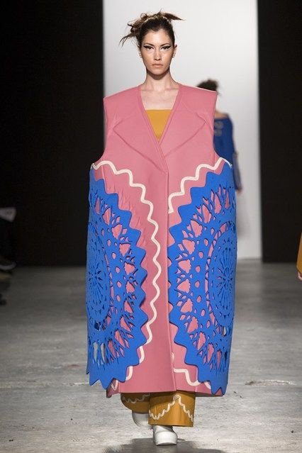 Forget the little black dress, I want to be an armless blue doily. Westminster BA Fashion Design show 2015 Matt Witcombe