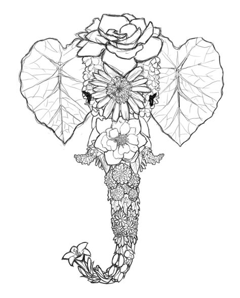 Flower Series - Elephant (SKETCH) by ~Simonbagel on deviantART