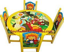 Hand Painted Carved Mexican Furniture 01b Tropical
