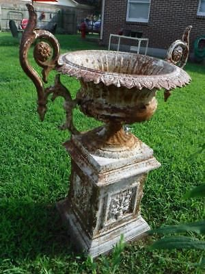 1880s Kramer Bros Antique Cast Iron Fleur De Lis Garden Urn 3ft Flower Pot Flower Pots Antique Urn Garden Urns