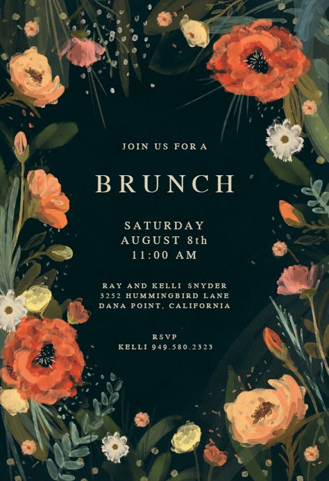 Wild Flowers - Brunch & Lunch Invitation Template (Free) | Greetings Island