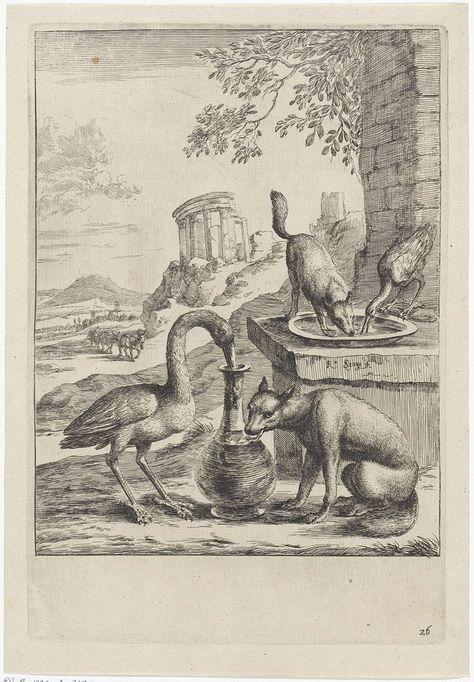 Dirk Stoop | Fabel van de vos en de kraanvogel, Dirk Stoop, John Ogilby, 1665 | De vos nodigt de kraanvogel uit voor een maaltijd. Hij serveert soep op een platte schaal, maar het is voor de kraanvogel niet mogelijk om de soep op deze manier te eten. Vervolgens nodigt de kraanvogel de vos uit en serveert eten in een hoge en smalle kruik. De vos kan hier niet uit eten. Op de achtergrond ezels en de ruïne van een ronde tempel. Illustratie van een fabel van Aesopus.