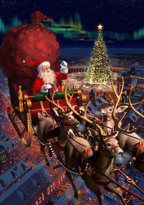 Noel Christmas mobile background - ⛄ Christmas wallpaper for IPh . Christmas Scenes, Noel Christmas, Father Christmas, Vintage Christmas Cards, Christmas Pictures, Winter Christmas, Christmas Ornaments, Xmas, Christmas Costumes