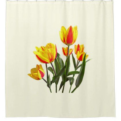 Red And Yellow Striped Tulips Shower Curtain Zazzle Com Tulip