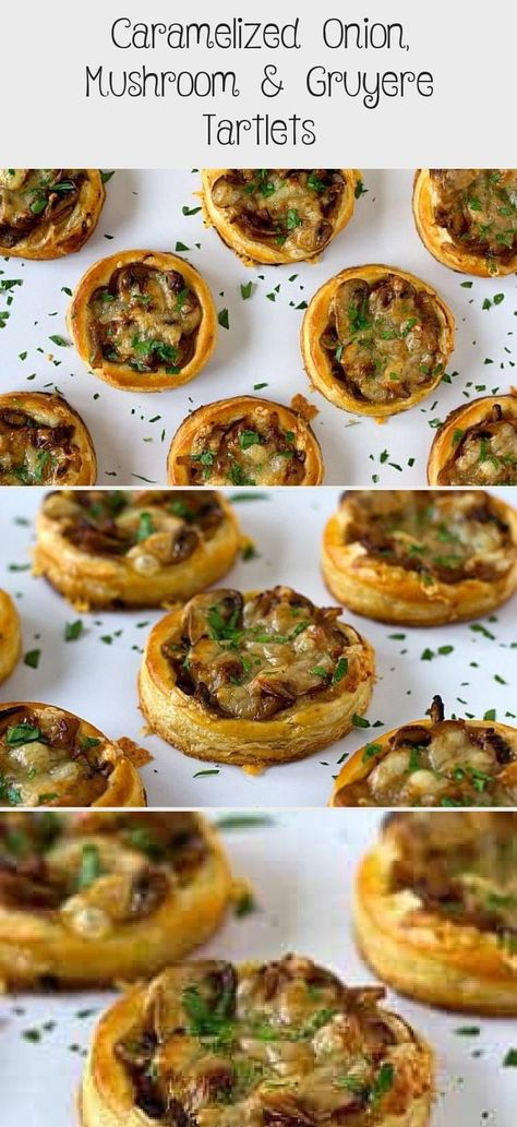 Caramelized Onion, Mushroom & Gruyere Tartlets - Thanksgiving Appetizers  Caramelized Onion, Mushrooms and guyere cheese tarts! This would be great for a Thanksgiving appeti #Appetizers #Caramelized #Gruyere #Mushroom #Onion #Tartlets #Thanksgiving
