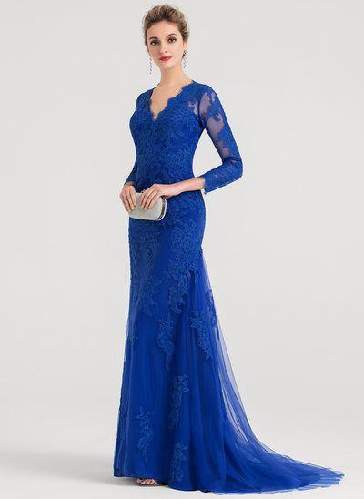 0bd34382e Vestido de noche de encaje de azul francia con 1 2 manga con escote de hombros  caídos de encaje