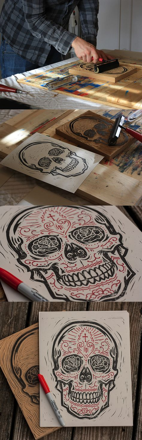 Sugar Skull - Block Print by Derrick Castle Auf dribbble.com http://www.pinterest.com/terryburger/lessons-to-explore/