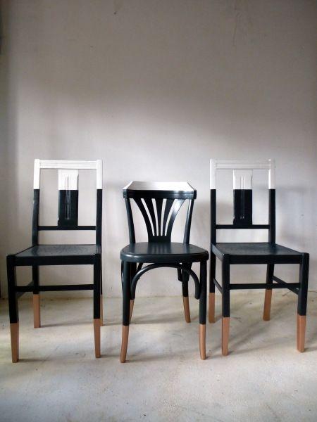 6 Chaises Depareillees Vintage Bistrot Relookees Blanc Bois Gris Cuivre Thonet Baumann Salon Ou Cuisin Mobilier De Salon Relooking De Mobilier Relooking Meuble