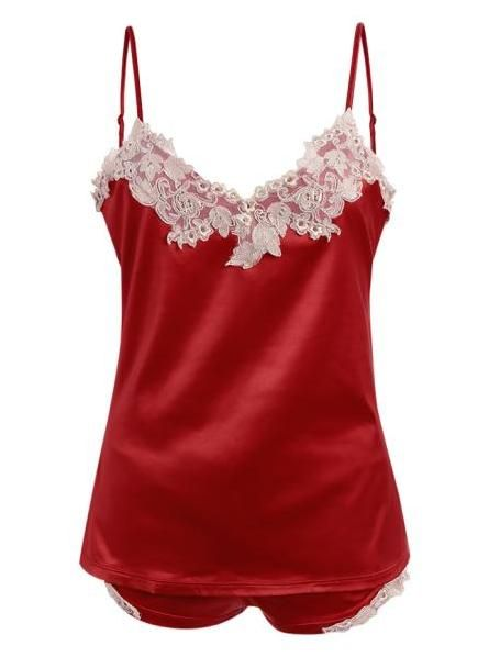 c5a41489d43 Cami Embroidered Lacework Tank Top and Shorts Pajamas - RED ONE SIZE ...