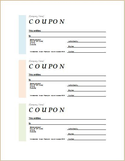 Coupon template for MS Word DOWNLOAD at http\/\/worddoxorg\/how-to - payment coupon template