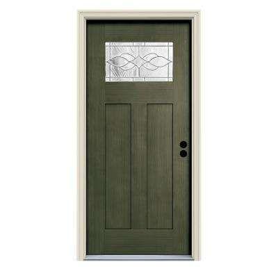 36 In X 80 In Juniper Left Hand 1 Lite Craftsman Carillon Stained Fiberglass Prehung Front Door Wit Exterior Doors With Glass Metal Front Door Exterior Doors