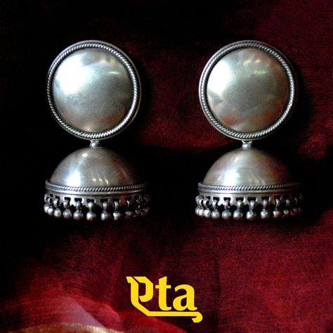 CLASSIC SILVER OXIDISED JHUMKA EARRINGS