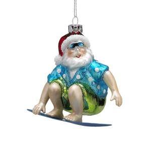 Beach Santa Glass Ornament With Images Beach Santa Christmas