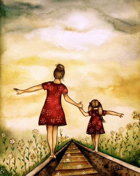 mother and daughter 'our path' art print   from original watercolor
