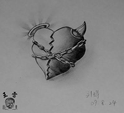 K with Hearts Tattoo Designs | Free Tattoo Designs : Broken heart tattoo flash