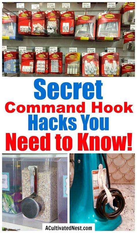 10 Mind Blowing Command Hook Hacks- A Cultivated Nest - - Did you know that there are tons of ways to use Command Hooks besides the usual? Check out these 10 Command Hook hacks for some great inspiration! Organisation Hacks, Organizing Hacks, Storage Hacks, Organizing Your Home, Jewelry Organization, Cleaning Hacks, Storage Ideas, Bedroom Organization, Clutter Organization