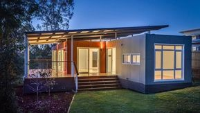 The Suburb Consist Of Two 400 Sq Ft Containers Each Unit Is 12 Ft Wide The Gorgeous Interior Is Construc Container House Container House Design Modular Homes