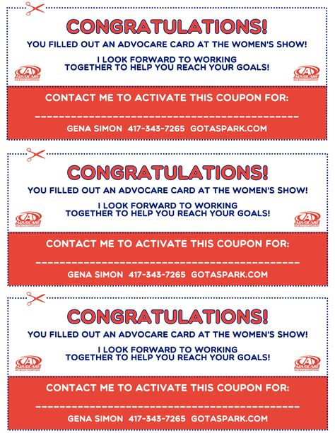 Coupons used in Advocare Trade Show booth