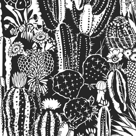 Cactus Spirit Designer Wallpaper in Contrast 'White and Black'