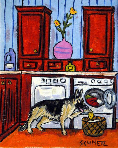 DACHSHUND doing laundry  dog art print gift modern artwork 4x6