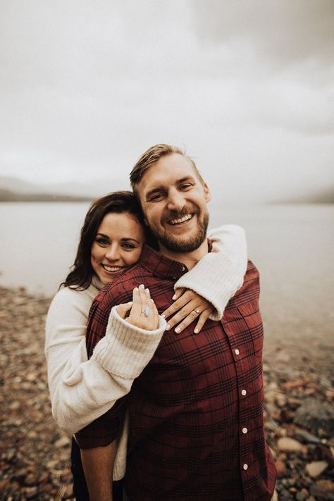 E C Lake McDonald Fall Montana engagement photos Glacier National Park Photographer elsaeileenphotogr - Engagement Announcement Photos, Country Engagement Pictures, Engagement Photo Poses, Engagement Photo Inspiration, Engagement Couple, Wedding Engagement, Winter Engagement Photos, Fall Engagement Photography, Wedding Couples