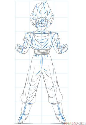 How To Draw Goku Super Saiyan Step By Step Drawing Tutorials For Kids And Beginners Goku Drawing Goku Super Goku Super Saiyan