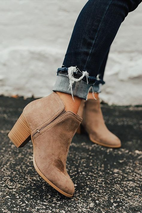 """The Tawny Faux Suede Bootie in Taupe - - Step up your fall shoe game with """"The Tawny"""" booties featuring a taupe colored faux suede material with block heels, rounded closed toes, and inside ankle zippers! Athleisure Trend, Fall Booties, Suede Booties, Brown Booties, Nike Shox, Cute Ankle Boots, Ankle Boots Style, Ankle Boots With Dresses, Women's Boots"""