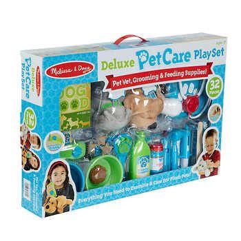 Melissa Doug Deluxe Pet Care Vet Grooming Feeding Play