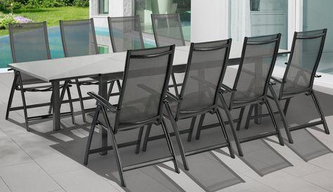 Merxx Gartenmöbelset Vicenza 9 Tlg 8 Klappsessel Tisch