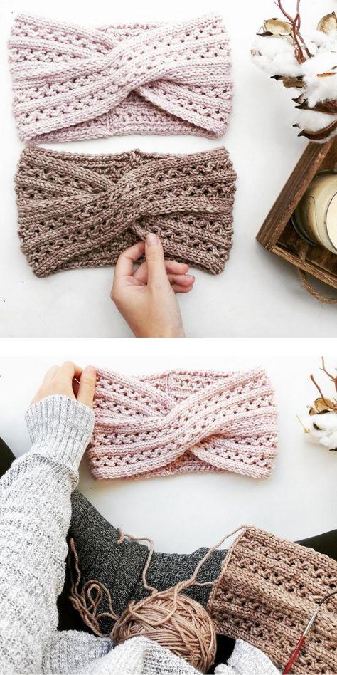 Beige knited earwarmers on the light background Knitting Patterns Free, Knit Patterns, Free Knitting, Small Knitting Projects, Crochet Projects, Quick Crochet, Diy Crochet, Knitted Headband Free Pattern, Crochet Headbands